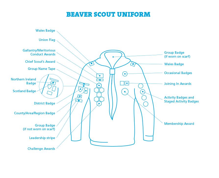 Beaver Scout badge placement diagram